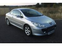 REDUCED Peugeot 307 CC metallic silver 1.6 100k history mot April 2019 VERY CLEAN FRESH CONVERTIBLE
