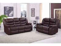 Luxury Remona 3&2 Bonded LEather REcliner Sofa SEt With Pull Down Drink Holder