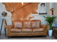 Vintage Leather 3 Seater Sofa Couch Tan Brown