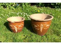 Set of 2 brown ceramic garden flower pots