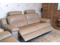 Stunning - Sofology Lazio 3 seater Genuine Leather Sofa with Double Elec Recliner + Extras INC DELIV