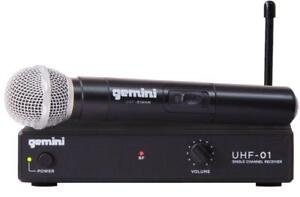 Gemini UHF-01M-F1 UHF Microphone Single Channel Wireless System with Handheld Microphone