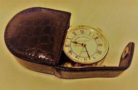 ROGER LASCELLES OF LONDON TRAVEL ALARM CLOCK IN BROWN CASE