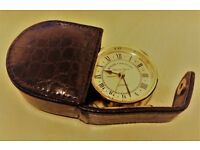 ROGER LASCELLES OF LONDON TRAVEL ALARM CLOCK IN BROWN CASE