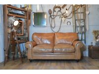 Laura Ashley Vintage Leather Sofa Brown