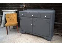 Vintage Grey Oak Sideboard *FREE LOCAL DELIVERY* Antique Hallway Dresser or Credenza