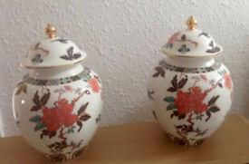 Pair of Old Foley Ginger Jars, Glory Rose by James Kent circa 1999 Vintage