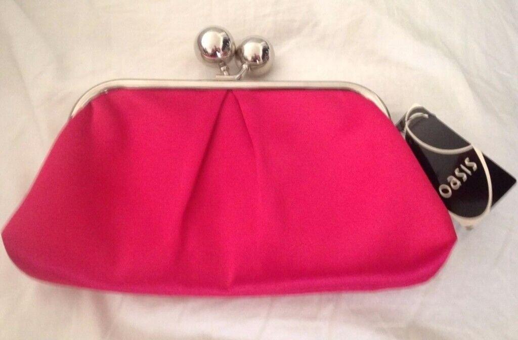 bfc0383f5599 BRAND NEW Stunning Oasis Hot Pink and Silver Evening Clutch Bag (Purse  Handbag)