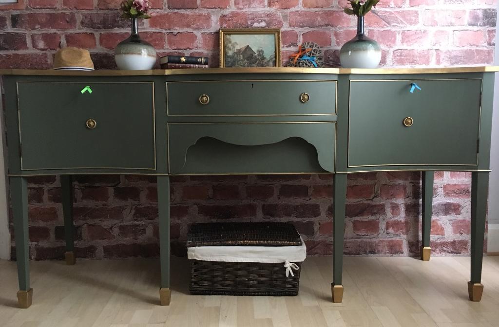 Unique Vintage Sideboard Buffet Cupboard in imperial green