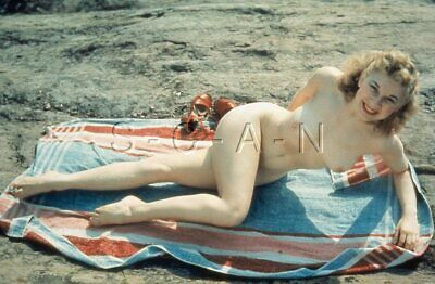 Vintage Nude 1950s-60s 35mm Slide / Negative- Endowed Dirty Blond at Beach- Legs