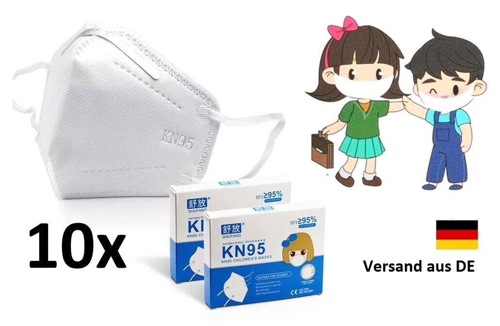 10 Stück FFP2 Maske für Kinder I KN95 Atemschutz Schule Mundschutz Gesicht Nase