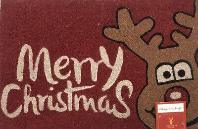 """Rudolph Merry Christmas Coir Door Mat Entryway Front Door Porch 18"""" x 27"""" NEW"""