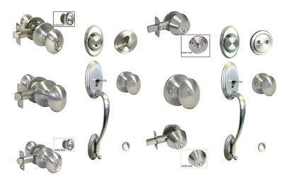 - Satin Nickel door knob oval egg entry privacy passage deadbolt Brushed Nickel
