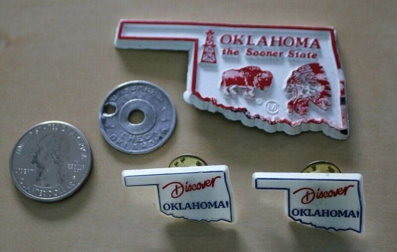 Lot of 4 Oklahoma Travel Souvenirs Tax Token State Magnet Discover Pins #33842