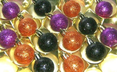 "Halloween Mini Ornaments Orange Black Purple 15 Balls Non Shatter 7/8"" 27mm 1090"