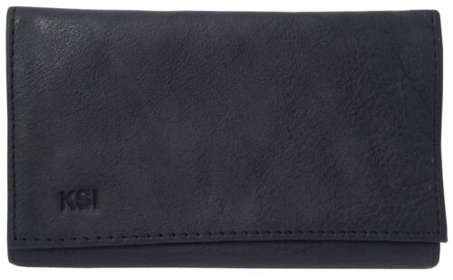 Black Leather Vinyl Lined Tri-Fold Rollup Double Pocket Pipe Tobacco Pouch 9205