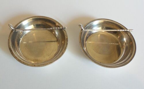 PAIR VINTAGE NEW YORK STERLING SILVER INDIVIDUAL ASHTRAYS, GOLF CLUB DECOR.