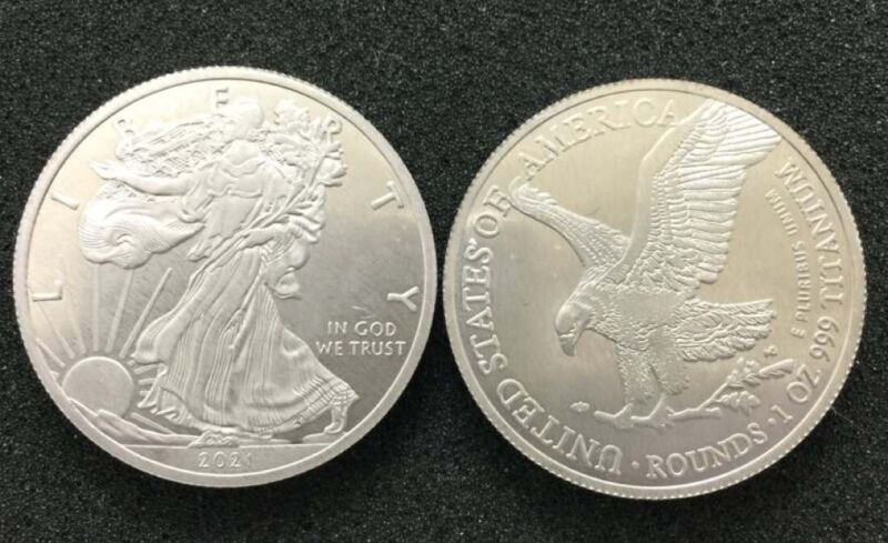 1 TROY OUNCE/OZ .999 Pure TITANIUM Metal Walking Liberty/Eagle Rounds/coins