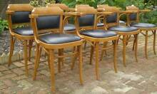 8 BENTWOOD CLUB CHAIRS WITH BLACK LEATHER SEATS & STUDDED BACKS Gnangara Wanneroo Area Preview