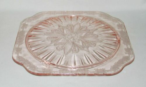 Jeannette Glass Co. ADAM PINK 3-Footed Square Cake Plate