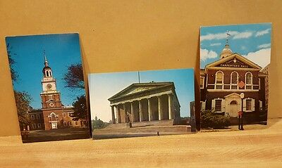3 Vtg Postcards  Philadelphia   Independence Hall  Second  Bank  Carpenters Hall