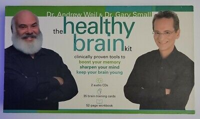 Healthy Brain Kit Memory Activity Set Andrew Weil CDs Workbook and Cards.