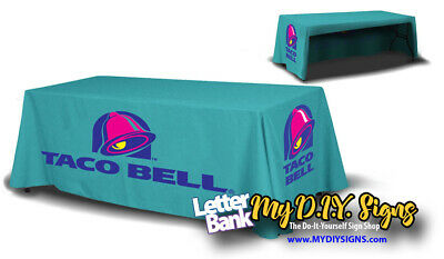 8ft Business Name Printed Table Cloth with your logo, photo or art. Washable!](Tablecloth With Logo)