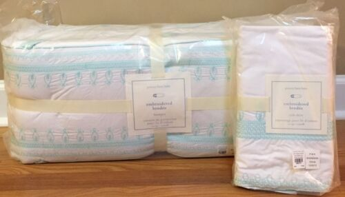 NEW Pottery Barn Kids Baby Claire Embroidered Crib Nursery Bedding Set AQUA BLUE