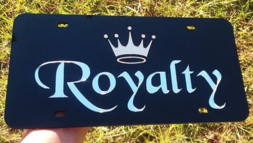 ROYALTY GOLD CROWN KING QUEEN DUCHESS MIRROR LASER CUT ACRYLIC LICENSE PLATE