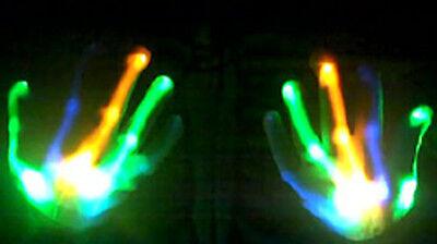 XBone HALLOWEEN BLUE GREEN ORANGE LED Gloves Raving Light Up Show DJ  *FREE SHIP
