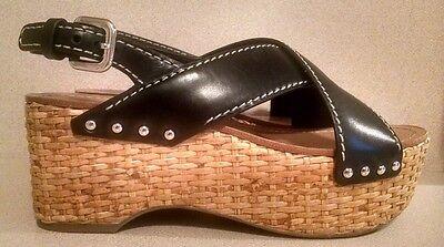 Prada Black Leather Strappy Straw Platform Sandal, NEW 36 1/2