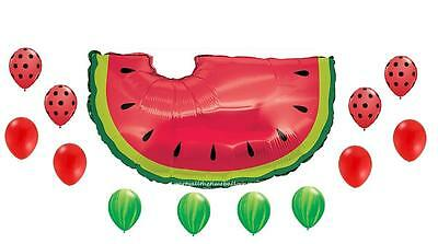 13 PC WATERMELON SUMMER PICNIC Party Balloons BBQ FREE SHIPPING Latex and Foil - Balloons And Parties