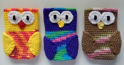 Crocheted Cell Phone Holder (Hand Crochet Owl Cell Phone iphone Purse Game Holder Case Cover Choose Colors )