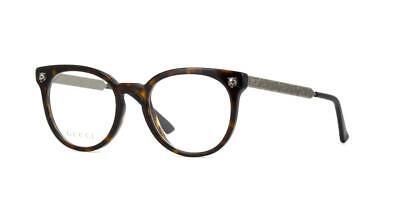 Gucci GG0219O 007 Havana & Antique Silver Brille Frames Glasses Eyeglasses 52mm