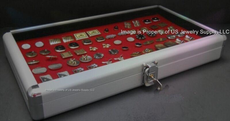 1 Wholesale Locking Aluminum Red Cufflinks Display Organizer Storage Box Case
