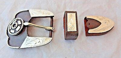 Sierra Star 3 Piece Buckle Set Hansen Western Brown Iron Silver Horse Headstall