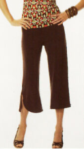 Brown Stretchy Capri, Gauchos or Cropped Pull-on Pants Sz S -New