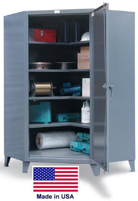 Storage Cabinet Commercial/indl - Corner Cabinet - 4 Shelves - Gray - 78x48x24