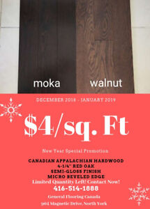New Year Special: Canadian Top Hardwood! 4-1/4'' Red Oak, $4/sf