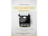 Transcriptionist/audio typist available.