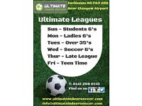 Ladies 6 A-Side Football League on Monday nights at Ultimate Indoor Soccer - looking for teams