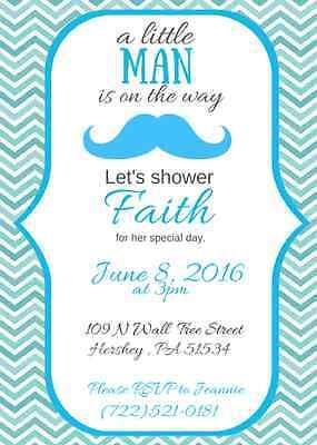 Mustache Baby Shower Invitation, Custom, Personalized, You Print!  Aqua