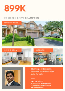 Brampton house for sale with inlaw suite!!Seperate ent. basement