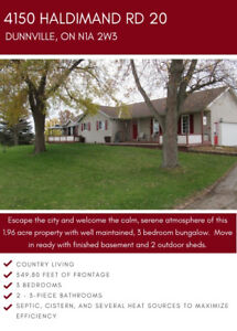 EXCLUSIVE LISTING - 3 BEDROOM BUNGALOW WITH 1.96 ACRES