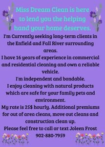 Cleaning in Fall River Enfield and Elmsdale areas