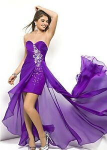 Blush Brand: Purple High Low Dress w. Crystals