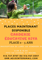Places disponible Garderie 0 - 5 ans