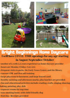 Bright Beginnings Home Daycare-2 FULL TIME spots open- any age