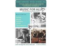 Music lessons (piano, guitar, violin, singing)