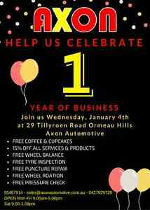 Axons 1 year of business (freebies & discounts) Ormeau Hills Gold Coast North Preview